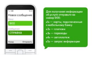 Информация о картах, подключенных к услуге Мобильный банк Сбербанка