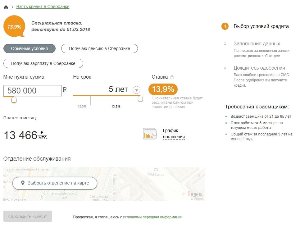 потребительский кредит пао сбербанк россии